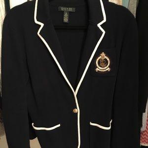 Lauren RL navy and white knit blazer size M